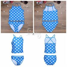 Girls Kids Polka Dots Tankini Set Swimwear Bikini Swimsuit Costume Bathing Suit