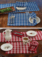 B Davies Placemats by Park Designs, Blue or Red, Set of 4, Colonial Country