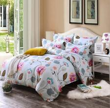 Flowers Pattern Bed Pillowcase Quilt Cover Duvet Cover Set Twin Queen King Size