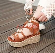 New Womens Creeper Roman Platform wedge Heels Lace Up Suede Casual Sandals Shoes