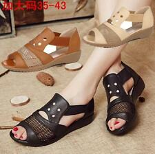 Womens Flat Leather Sandals slip on loafer Peep toe hollow Shoes soft breath