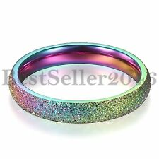 3mm Womens Rainbow Color Ring Lesbian LGBT Stainless Steel Wedding Band Size 5-8