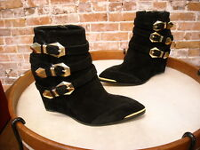 Vince Camuto Kannon Black Suede Buckle Wedge Ankle Boot NEW