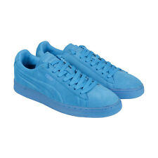 Puma Suede Emboss Splatter Fluo Mens Blue Suede Lace Up Sneakers Shoes