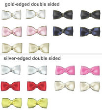 "NEW 35mm 1.4"" Pre-Tied Bow Ties Gold Silver Edged Satin Ribbon Eco Quality Craft"