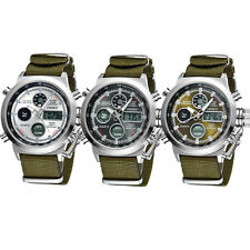 Mens Watch Analog Quartz Date Sport Army Military Nylon Waterproof Wrist Watch