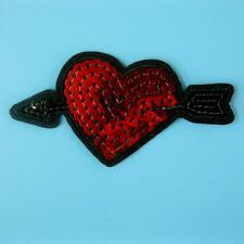 Love Heart Sequin Arrow Iron on Sew Embroidered Patch Badge Applique Biker Motif