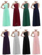 Long One Shoulder Chiffon Bridesmaids Evening Party Prom Gowns Ball Womens Dress