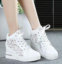 Womens lace Hollow breath sandals Wedge heel Shoes Lace Up High Top Sneakers