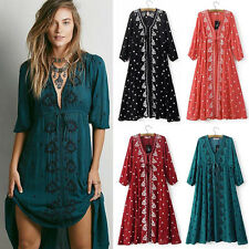 Vintage Women Floral Embroidered Tunic Boho Hippie Holiday Maxi Long Dress Robe