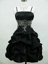 Cherlone Satin Black Prom Ball Gown Cocktail Party Bridesmaid Evening Dress 8-26