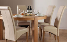Brighton & Boston Round Oak Dining Room Table and 4 6 Leather Chairs Set (Ivory)