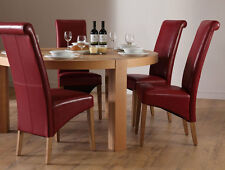 Brighton & Boston Round Oak Dining Room Table and 4 6 Leather Chairs Set (Red)