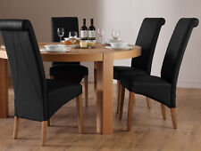 Brighton & Richmond Round Oak Dining Table and 4 6 Leather Chairs Set (Black)