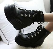 womens shoes Gothic High platform wedge heel zip up ankle boots punk cosplay