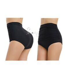 Women Ladies Vintage Retro High Waisted Bikini Swim Bottom Swimwear Black S-3XL