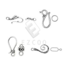 30-60pcs Tibetan Silver Hook&Eye Clasp Charm For Jewelry Making 4 Style DIY HC