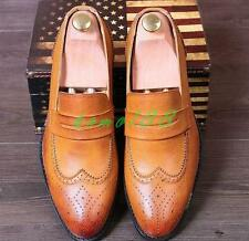 Stylish Mens pointy toe dress formal shoes oxford brogue wing tip carve loafer