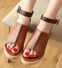 Chic Womens Peep toe Ankle strap Flat Lady Sandals British Buckle Shoes size