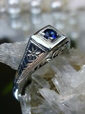 Edwardian/Art Deco *Sapphire* Sterling Silver Filigree Ring Size {Made To Order}