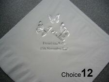100 Personalised Wedding Napkins 9 NEW designs, 2 lines of text included