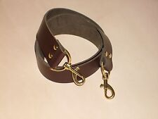 """1 1/2"""" BROWN LEATHER SHOULDER BAG REPLACEMENT STRAP GOLD/SILVER/BRONZE FITTINGS"""