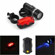 WATERPROOF BRIGHT 5 LED BIKE BICYCLE HEAD & REAR LIGHTS LIGHT 7 MODES WIDE GH