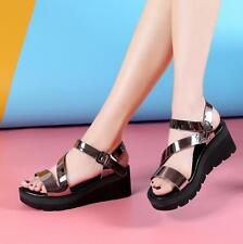 Womens Strappy Sandals Roman Wedge Heel Platform Cleated Sole Open Toe Shoes New