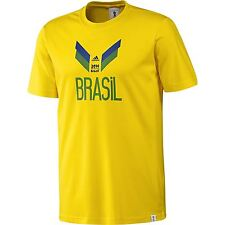 adidas 2014 FIFA World Cup Brazil T-Shirt Yellow Football Soccer Top Tee Shirt