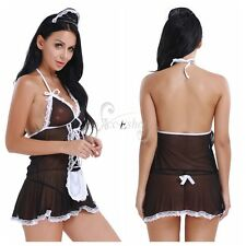 3PCS Women's See-through Lingerie Halter Maid Dress+Hair Hoop+Sexy G-string Sets