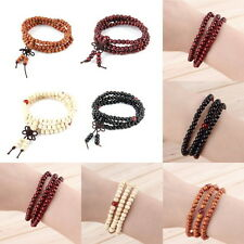Sandalwood Buddhist Buddha Meditation 108 Prayer Bead Mala Bracelet Necklace GH
