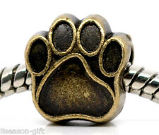 Wholesale Lots Gifts Bronze Tone Dog's Paw Charm Beads Fit Charm Bracelet