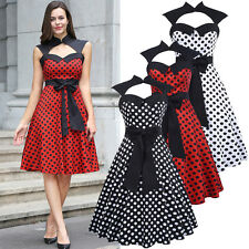 Vintage Retro Polka Dot Hepburn 50s Style Bow Prom Evening Party Swing Tea Dress