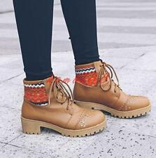 Womens round toe ankle boots carving lace up mid block heel pumps work shoes