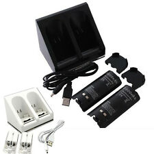 2800mAh Recharge Batteries &Charging Dock Station Nintendo Wii Remote Controller