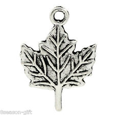 Wholesale Lots Gift Charm Pendants Maple Leaf Silver Tone 19mmx14mm