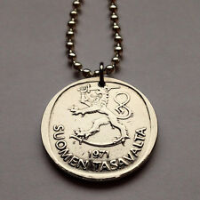 Finland 1 Markka coin pendant Finnish Suomen crowned LION necklace sword n000367