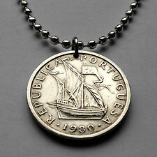Portugal 5 escudos coin pendant Portuguese masted SHIP carrack caravela n001538a