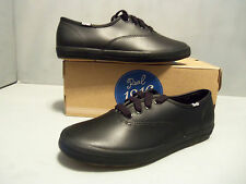 Keds Youth Original Champion CVO  Black Leather shoes NIB Sizes!! Lace Up  Cool!