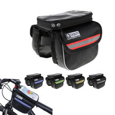 Bicycle Bike Frame Pannier Saddle Front Tube Bag Phone Holder Double Sides