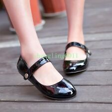 Womens Cute Shiny Patent Leather Round Toe Ballet Flats Pumps Shoes Loafers Size