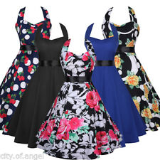 Vintage Rockabilly Swing 50s 60s Pinup Halter Housewife Cocktail Party Tea Dress
