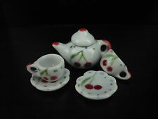 Cherry Painted Teapot & Coffee Set Dollhouse Miniatures Ceramic Supply Food