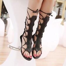 Womens Roman Gladiator Strappy Shoes Flats thong Toe Sandals zip Mid Calf Boots