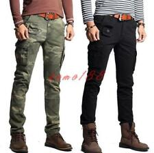 Mens camo Worker Pants Cotton Slim Fit Skinny Military Casual Cargo Trousers 38