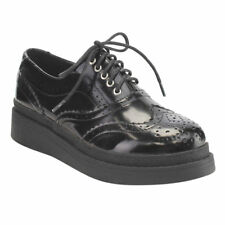 C Label Women's AE43 Faux Leather Lace-up Perforated Wingtip Brogue Platform