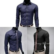 Men's Strip Casual Formal Shirt Long Sleeve Slim Fit Business Dress Shirts Tops