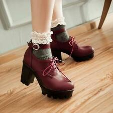 Retro Ankle Strap buckle Womens Block chunky  Heels Platform Pumps Shoes preppy