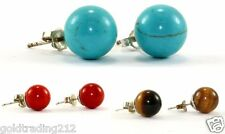 VTG ROUND CORAL/TIGERS EYE/TURQUOISE BEAD STUD EARRINGS 925 STERLING ER 619