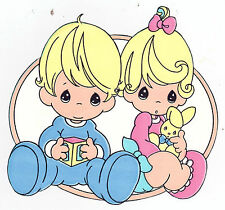 "5""-8.5"" PRECIOUS MOMENTS BOY  GIRL CHARACTER  WALL STICKER GLOSSY BORDER CUT OUT"